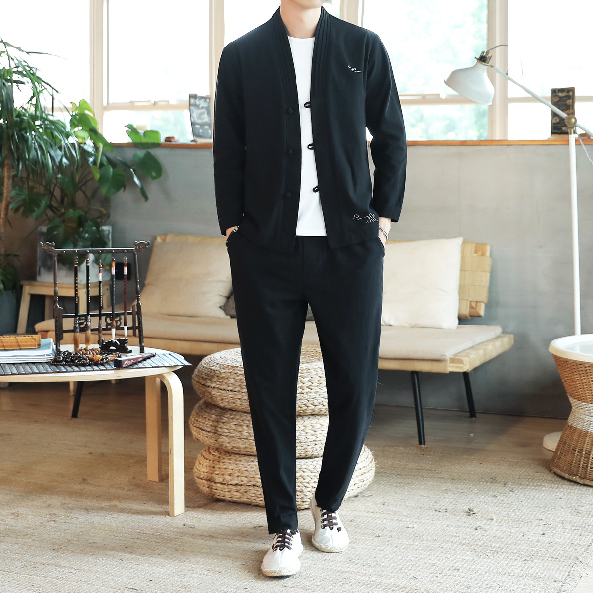 2019 New Style Chinese-style Jacket Suits Loose-Fit Korean-style Cardigan MEN'S T-shirt Casual Spring And Autumn Cotton Linen Se