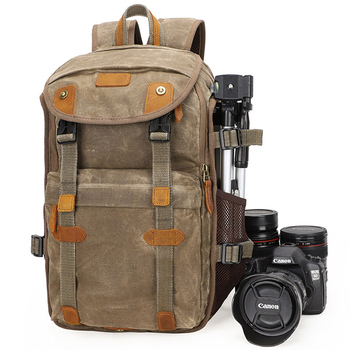 CAREELL C3040 Waterproof Batik Canvas & Leather Retro Camera Backpack Casual Traval Bags for Canon Nikon Sony Tripod DSLR