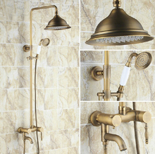 цена на Vintage Retro Antique Brass Single Handle Bathroom 8.2 Inch Round Rain Shower Faucet Set Bath Tub Mixer Tap Hand Shower mrs152