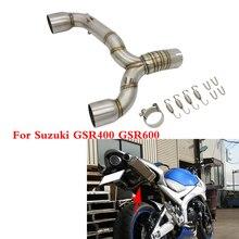 Motorfiets Slip On Uitlaat Midden Link Pijp Verbinding Roestvrij Staal Voor Suzuki GSR400 GSR600 BK400 BK600 Gsr Bk 400 600