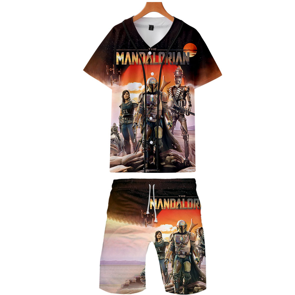 Mandalorian Hawaiian Suit Sets 2019 Fashion Shirts+Shorts Set Summer Custom 3D Baby Yoda Shirt Homme Short Sleve Mens Tracksuits