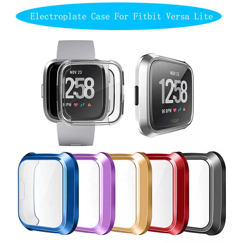 Galvaniseren Cover Horloge Screen Protector Tpu Siliconen Clear Case Cover Shell Voor Fitbit Versa Lite