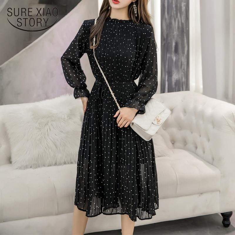 Black Vintage ClotheS Spring Lady Long Chiffon Dress 2020 New Korean Fashion Women Long Sleeved Polka Dot Pleated Dress  3670 50