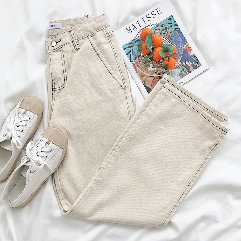 Mooirue Classic Women Boyfriend Jeans High Waist Striped High Waist Solid Color Loose Skinny Wide Leg Beige Denim Pants