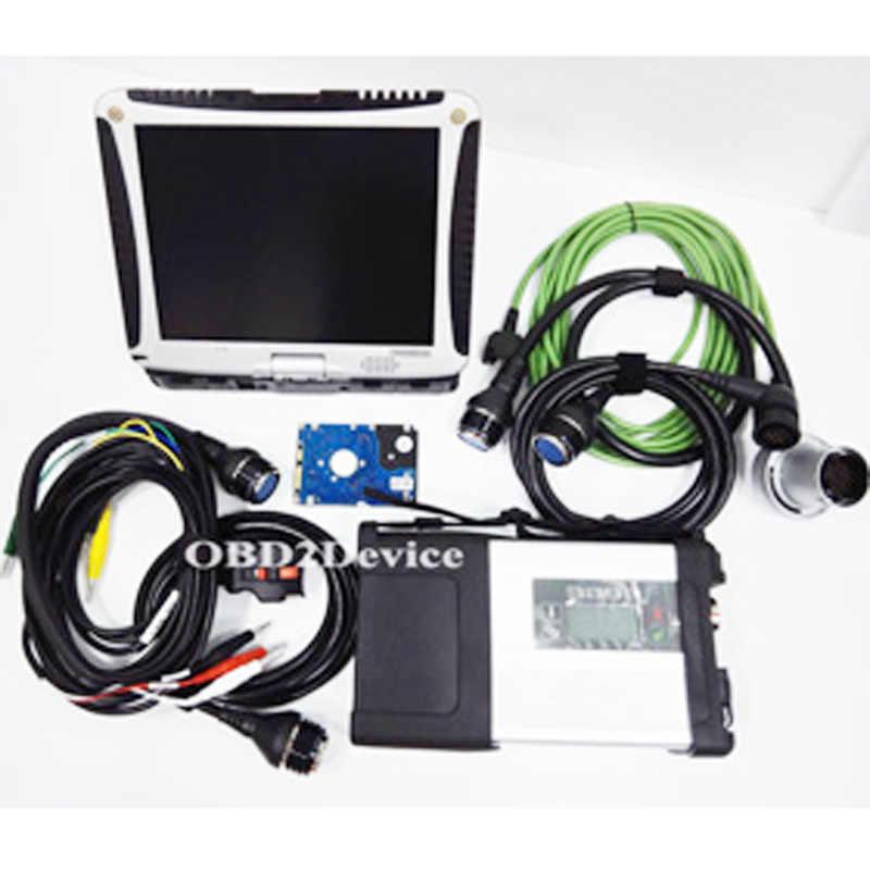 La mejor calidad MB Star C5 nuevo V2019.12 Star C5 diagnóstico Software Mb SD conectar C5 con CF19 ordenador portátil para diagnóstico de camión de coche + Wifi