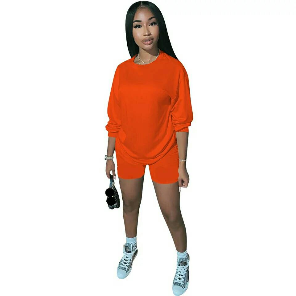 Adogirl Casual Solid Two Piece Set Women Summer Tracksuit Short Sleeve T Shirt Fashion Tops And Shorts