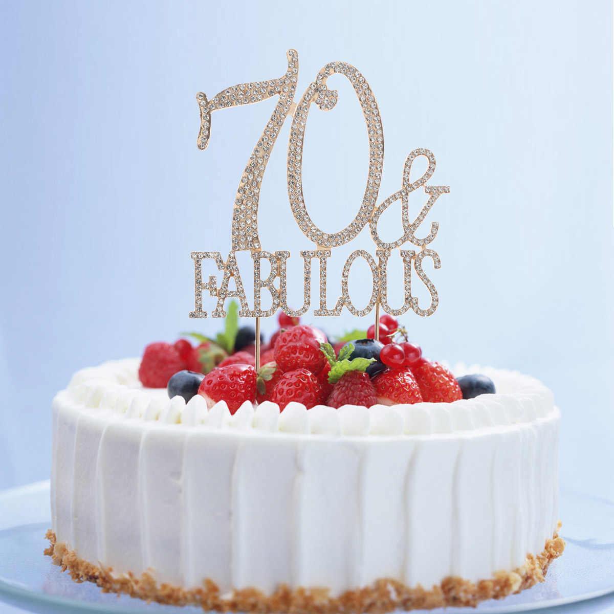 70 i bajeczna ozdoba na wierzch tortu brokat stop Rhinestone urodziny na przyjęcie do tortu Pick do dekoracji żywności dostarcza złoto A30