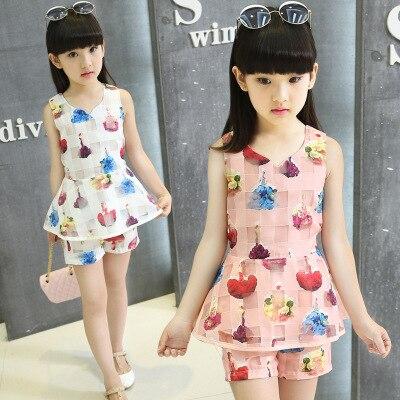 2016 new summer models girls big virgin suit children sleeveless vest T-shirt shorts short sleeve childrens clothing