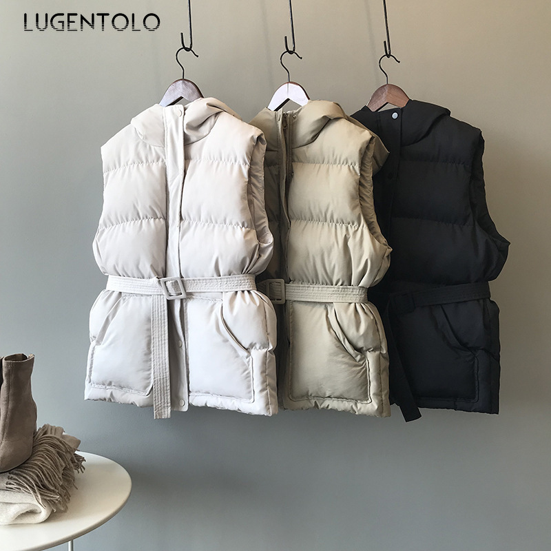 Lugentolo Women Warm Vest New Korean Version Autumn Winter Hooded Loose Belt Zipper Button Pocket Casual Fashion Simple Vest