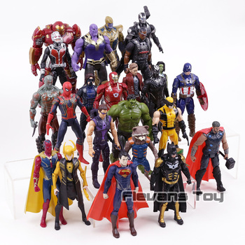 Marvel DC Super Heroes Thanos Iron Man Captain America Black Panther Superman Wolverine Action Figures Toys 24pcs/set