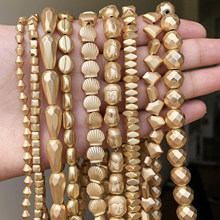 Wholesale Natural Matte KC Gold Hematite Stone Beads Loose Natural Stone For Jewelry Making Diy Charm Bracelet Necklace 15''