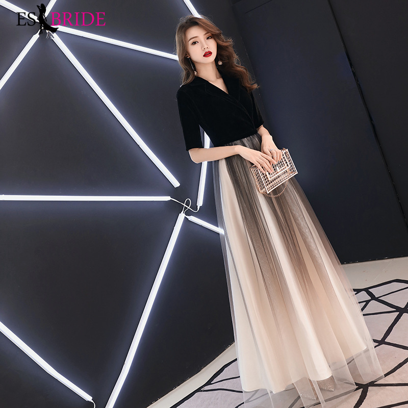 Formal Dresses Women Elegant Fashion A-line Long Evening Dresses Lace Sexy V-neck Party Evening Dresses Plus Size ES1880