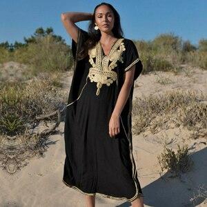 Image 3 - % 100% pamuk uzun plaj elbise plaj Coverups için kadın Pareo de Plage mayo Cover up plaj Sarongs mayo Kaftan plaj # Q660