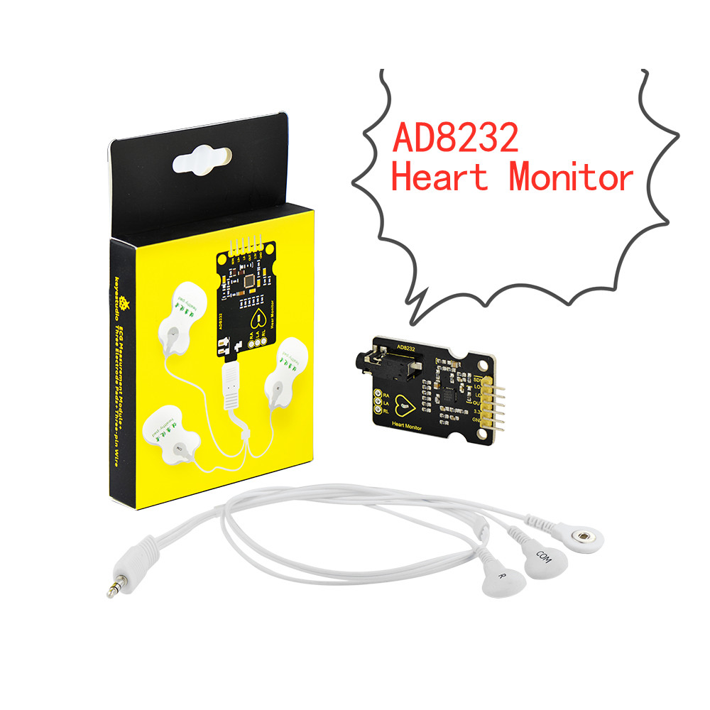 Keyestudio AD8232 <font><b>ECG</b></font> Measurement Heart Monitor Sensor Module for <font><b>Arduino</b></font> UNO R3 image