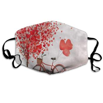 Face Mask Valentine's Day Heart Tree Bike Clover Leaf Cool Cycling Half Face Earloop Ski Mask for Boys