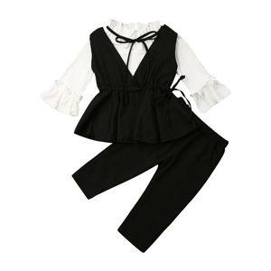 1-6Y Toddler Infant Baby Girl Kid Clothes Suit Set Party Formal White Shirts Tops+Black Vest+Pants 3pcs Autumn Cloths