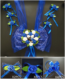 Image 4 - Simple Style PE Rose Wedding Car Decoration Flowers Heart Shaped Wreaths Color Can be Customized