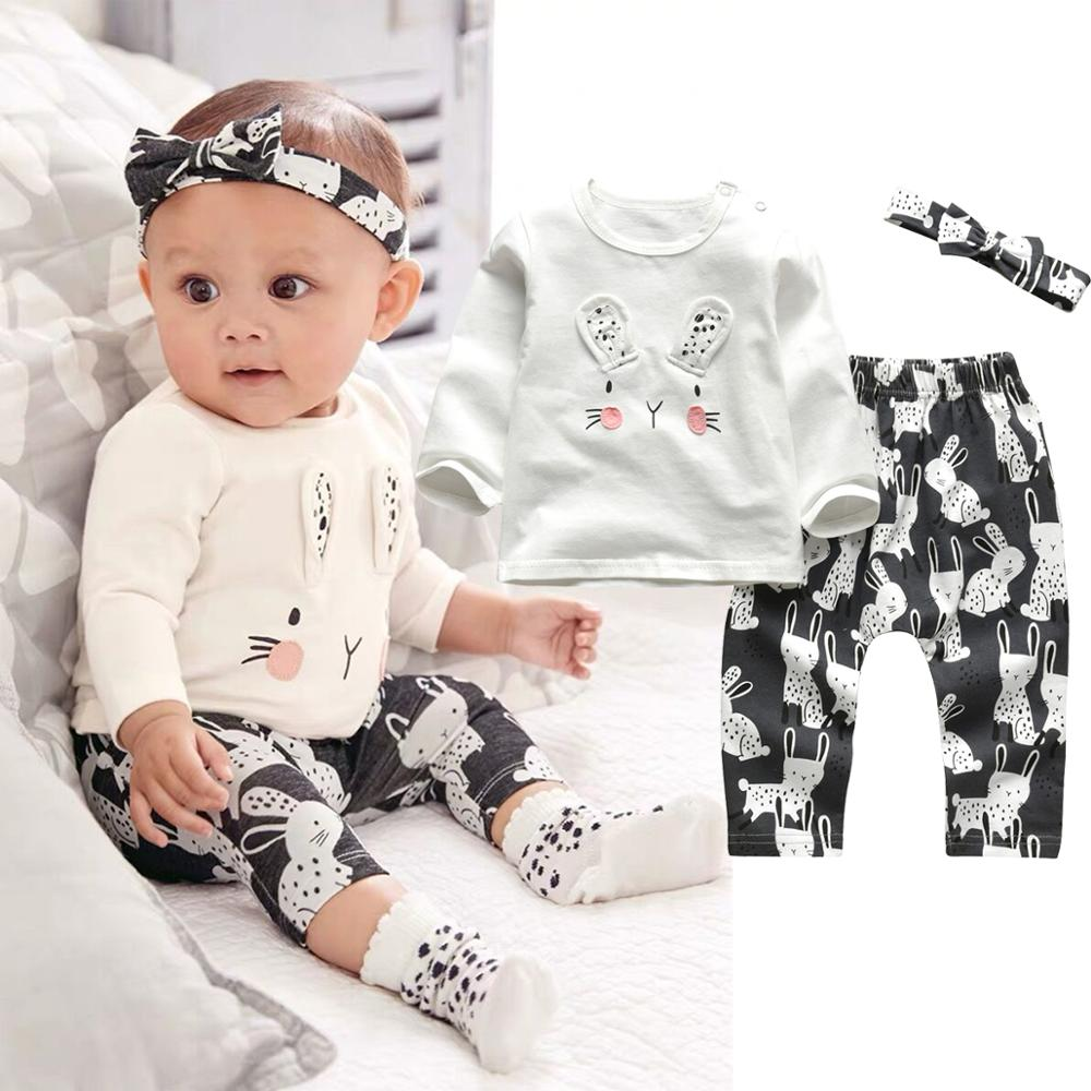 Infant Clothing Outfits Pants T-Shirt Headband Long-Sleeve Newborn Baby-Girl Cartoon
