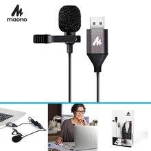 MAONO mikrofon USB Lavalier Mic zestaw głośnomówiący mikrofon kondensujący koszula przypinany kołnierz klapa mikrofonu na komputer stancjonarny Laptop YouTube