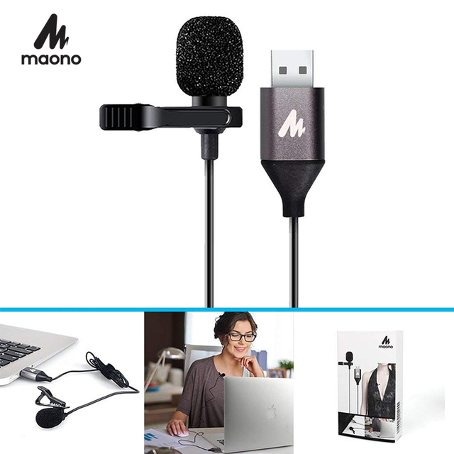MAONO USB Microphone Lavalier Mic HandsFree Condenser Microphone Shirt Collar Clip on Lapel Mic for PC Computer Laptop YouTube