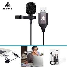 MAONO micrófono USB Lavalier, manos libres, condensador, Clip para Cuello de camisa, para PC, ordenador, portátil, YouTube