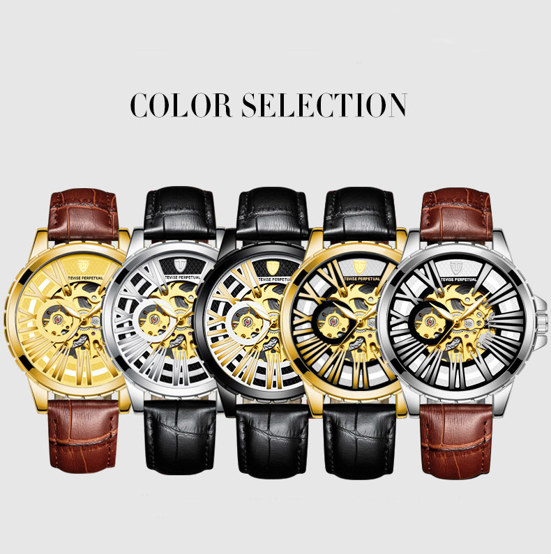 Tevise Luxury Brand Automatic Watch Men Mechanical Watches Hollow Skeleton Self Winding Male Sports Wristwatch Relogio Masculino in Mechanical Watches from Watches