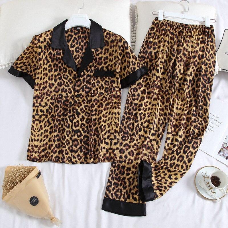 JULY'S SONG Women's Pajamas Sets Leopard Printed Men Nightwear Casual Lapel Collar Short Sleeve Unisex Couples Summer Sleepwear