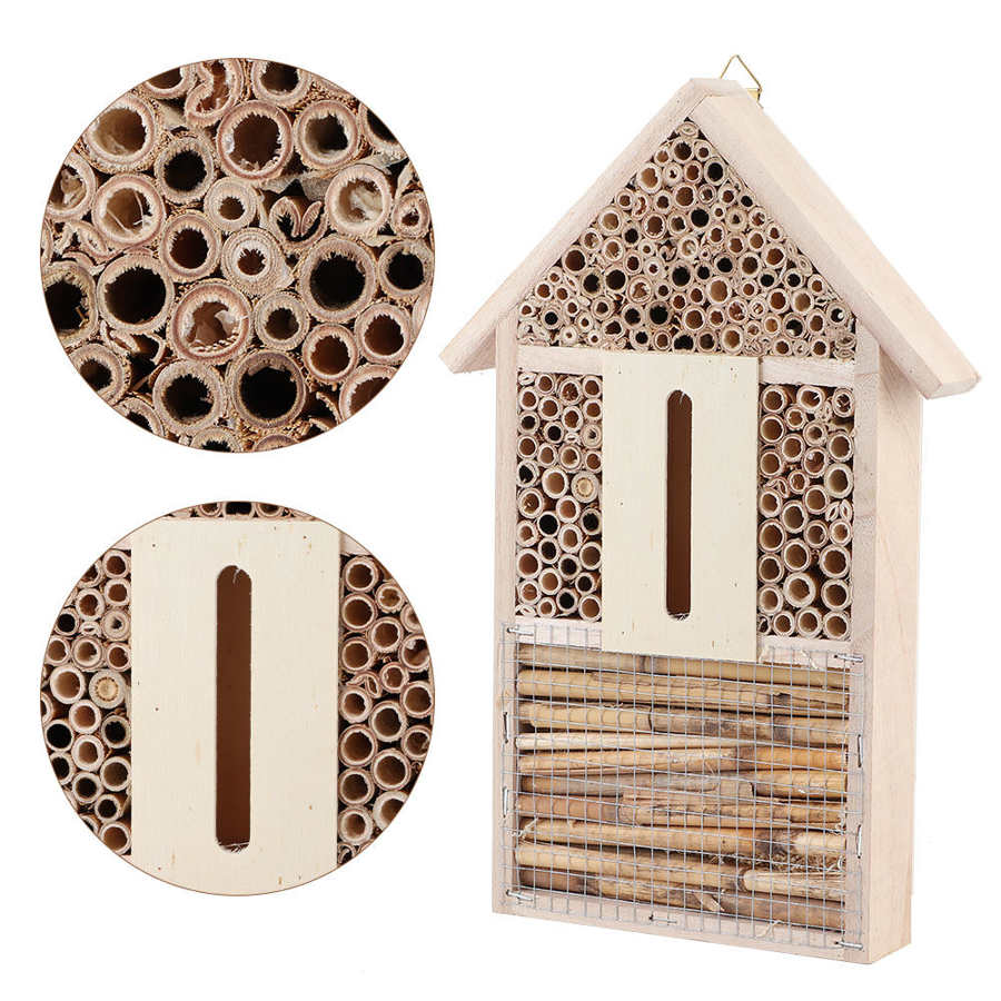 Wooden Insect House Bee House Shelter Garden Insect Nesting Box Handicrafts Outdoor Garden Decoration
