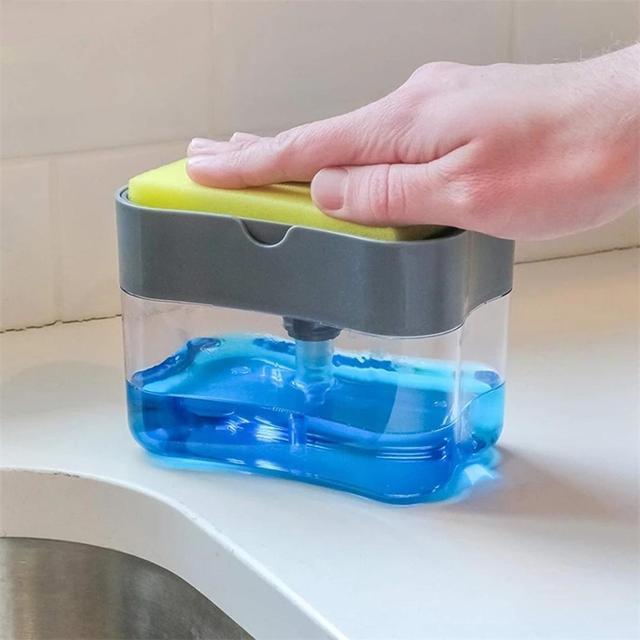 موزع الصابون متعدد الوظائف الإسفنج العلبة غير سامة عديم الرائحة موزع رف مطبخ الحمام الإبداعية صابون الغسيل صندوق FD