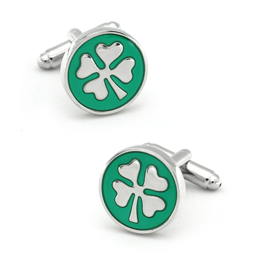 IGame New Arrival Fashion Cuff Links Green Color Lucky Clover Design Quality Brass Material Men's Cufflinks Free Shipping