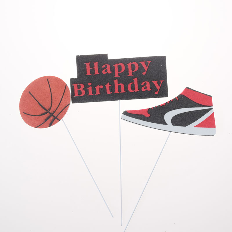 3pcs/set Cake Topper Basketball Sports Shoes DIY Cake Cupcake Toppers Boys Men Happy Birthday Party Wedding Dessert Decor Flags-2