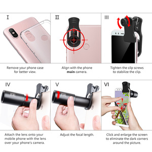 Image 4 - 18X Zoom Telephoto Lens with Travel Case Aluminum HD Monocular Telescope Phone Camera Lens for iPhone Samsung Smartphone Mobile