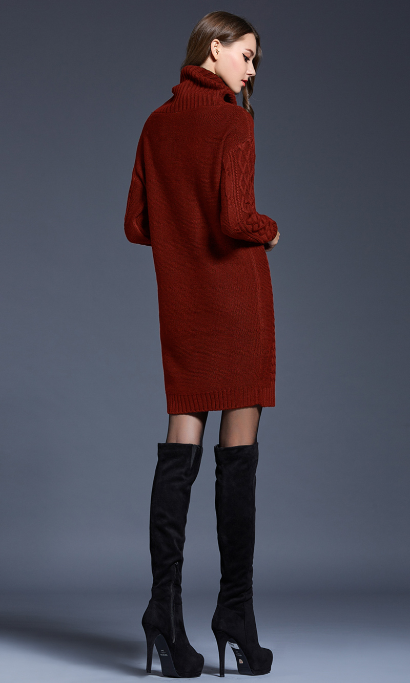 Elegant Turtleneck Pullovers Office Ladies Long Sweater Women Long Sleeve Thick Sweater Autumn Winter Elegant high neck skirt
