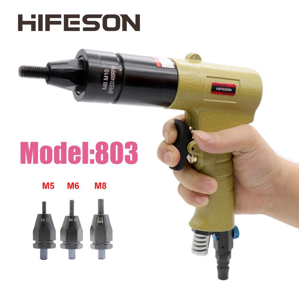 HF-803 M5 M6 M8 Pneumatic Air Rivet Nut Guns Insert Threaded Pull Setter Riveters Riveting Nuts Rivnut Tool For Nuts