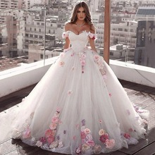 Ball-Gown Bridal-Dress Flower De-Mariage Pink Plus-Size Sweep-Train Off-Shoulder Robe-De-Soire