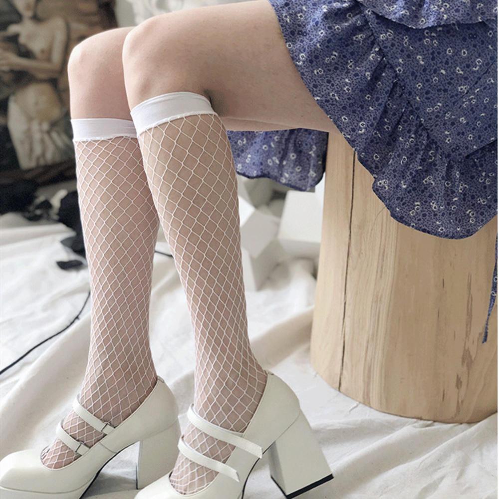Grid Black White Women Fish Net Stockings Socks Sexy Thin Hollow Lattice Geometry Summer Breathable Net Mesh Socks