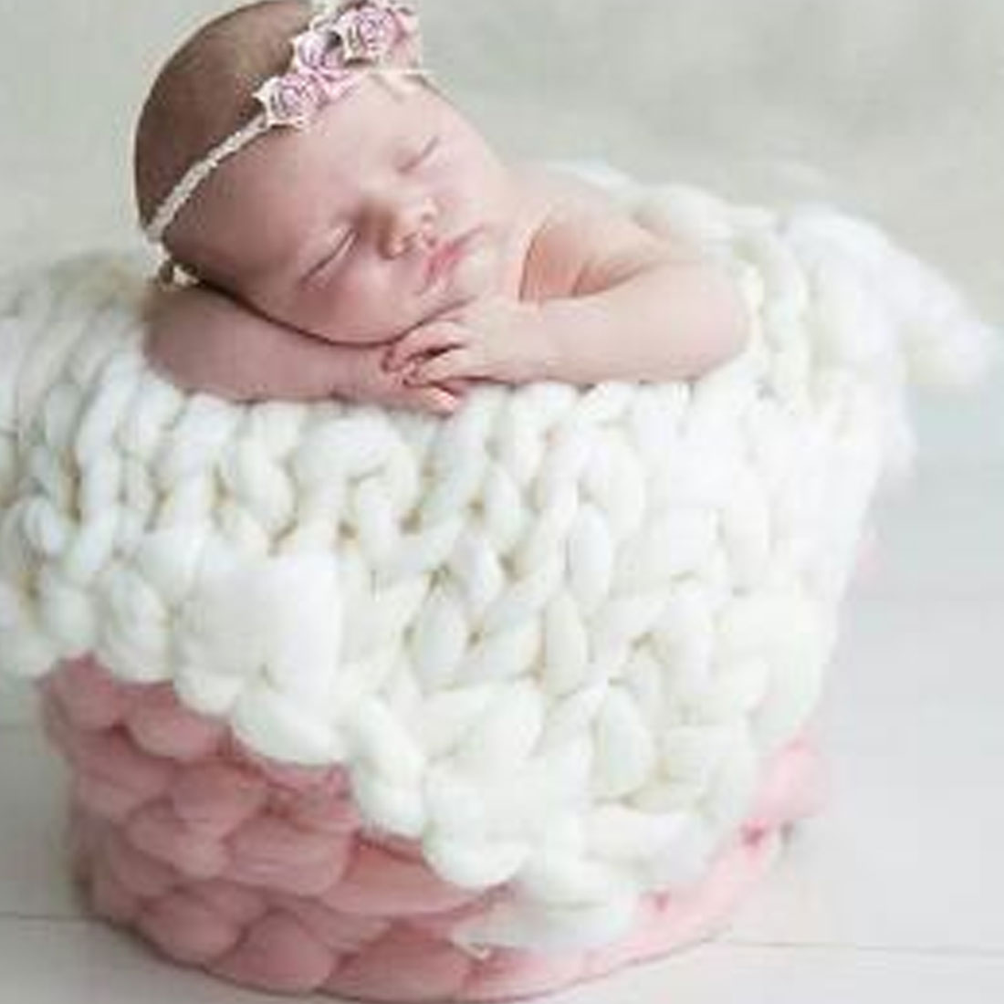 New Arrivals Knitted Wool Crochet Baby Blanket Newborn Photography Props Chunky Knit Blanket Basket Filler 45*50