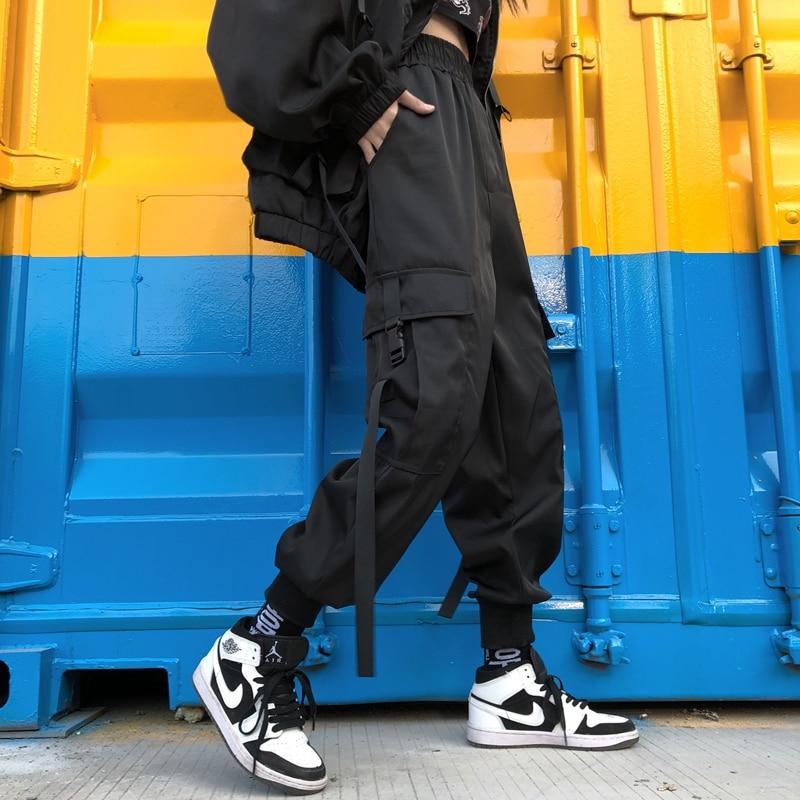 ZSIIBO 2020 Streetwear Cargo Pants Women Casual Joggers Black High Waist Loose Female Trousers Korean Style Ladies Pants Capri