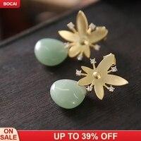 925 sterling silver needle natural semi precious stones ear studs