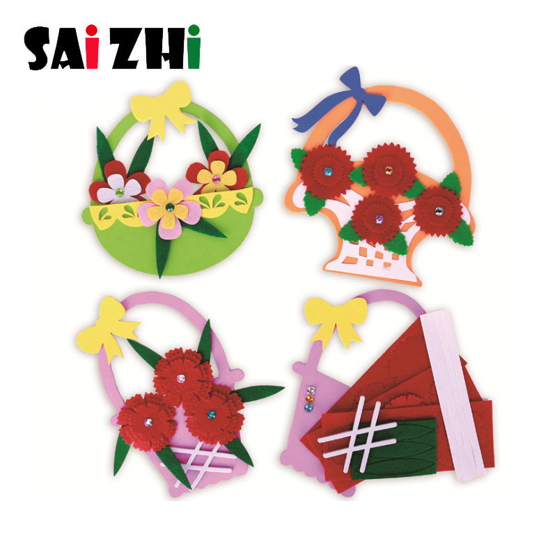 Saizhi Children Toy Crafts Kids Non-woven DIY Simulation Bouquet Kindergarten Early Learning Education Toys Teaching Aids