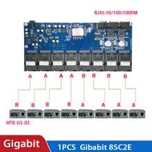 Przełącznik gigabitowy Ethernet z włókna optyczny Media konwerter portu 8 1.25G SC 2 RJ45 10/100/1000M płytka obwodów drukowanych