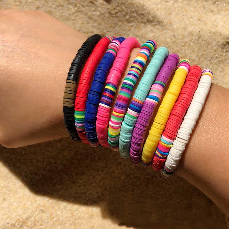 Perles de disque en argile polymère recyclables Bracelets de chaîne cirés femmes Femme Boho couleur mixte bracelet populaire bijoux
