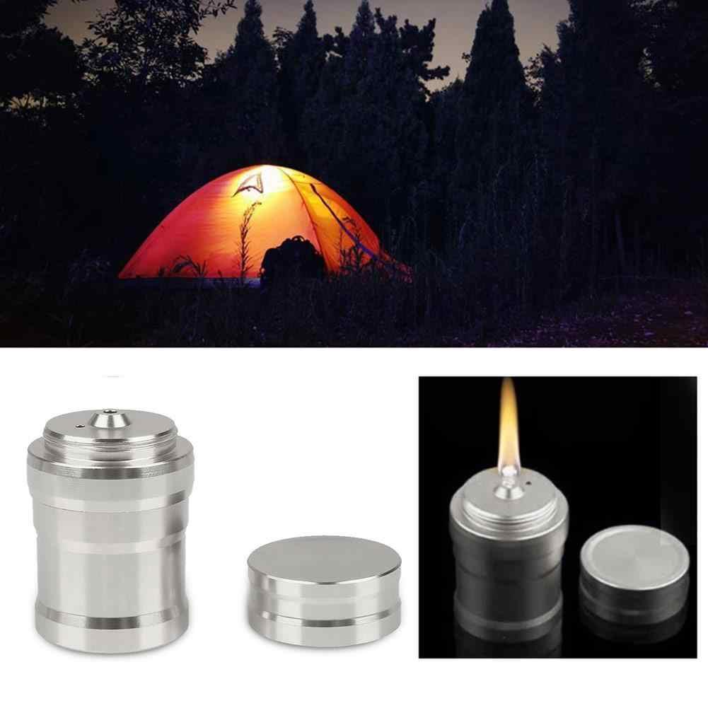 Viagem 4.5*2.6 cm queimador de álcool lâmpada de metal mini prata caso alumínio da cozinha laboratório conveniente acampamento caminhadas sobrevivência