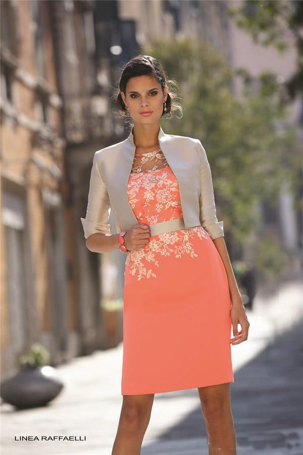 2015 Sexy Plus Size Mother Of The Bride Dresses With Jacket Knee Length Champagne And Coral Lace Applique Formal Dresses