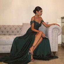 Off Shoulder Prom Dresses Green Sleeveless Sesy Skirt Slit Vestidos De Fiesta De Noche Largos Elegantes 2019 women chiffon prom dresses off shoulder formal party gowns vestidos de fiesta de noche