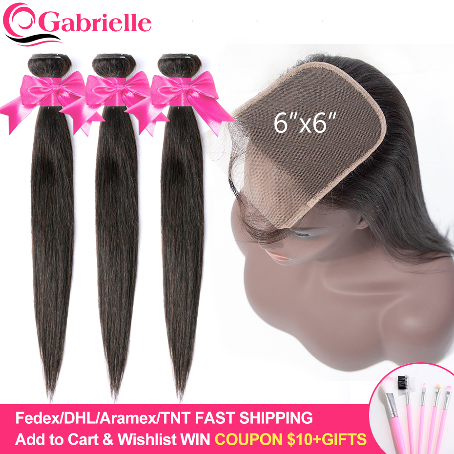 Gabrielle Hair Brazilian Straight Hair Bundles with 6x6 Lace Closure 100% Remy Human Hair Extensions 6x6 Closure with Bundles-in 3/4 Bundles with Closure from Hair Extensions & Wigs    1