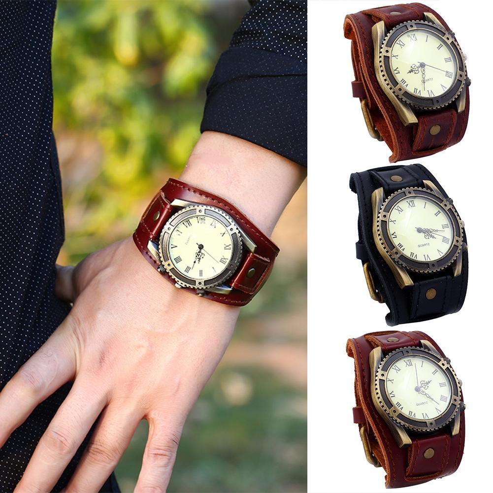 Vintage Roman Numerals Gear Faux Leather Band Men Wrist Bracelet Quartz Watch Jam Tangan Pria Zegarki Meskie
