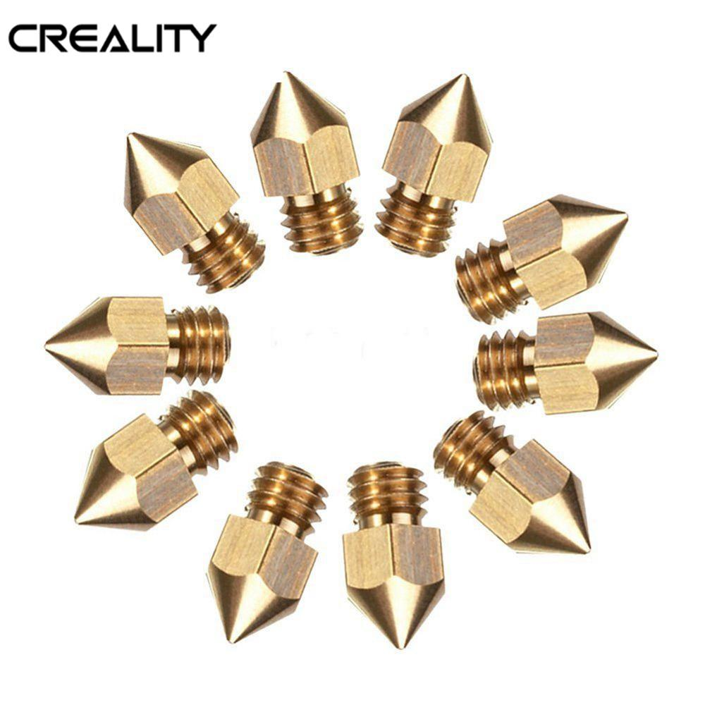 HOT Sale Creality 10PCS 0.4mm Copper Hotend MK8 Extruder Nozzle ForEnder-3 3D Printer Parts For Creality CR-10 CR-10S S4 S5