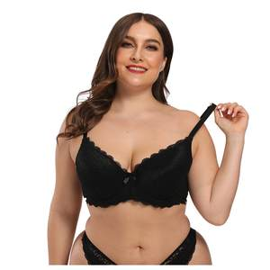 Lace Bra Underwear Sexy Lingerie Bralette Push-Up Breathable Women Sexy Plus-Size Solid