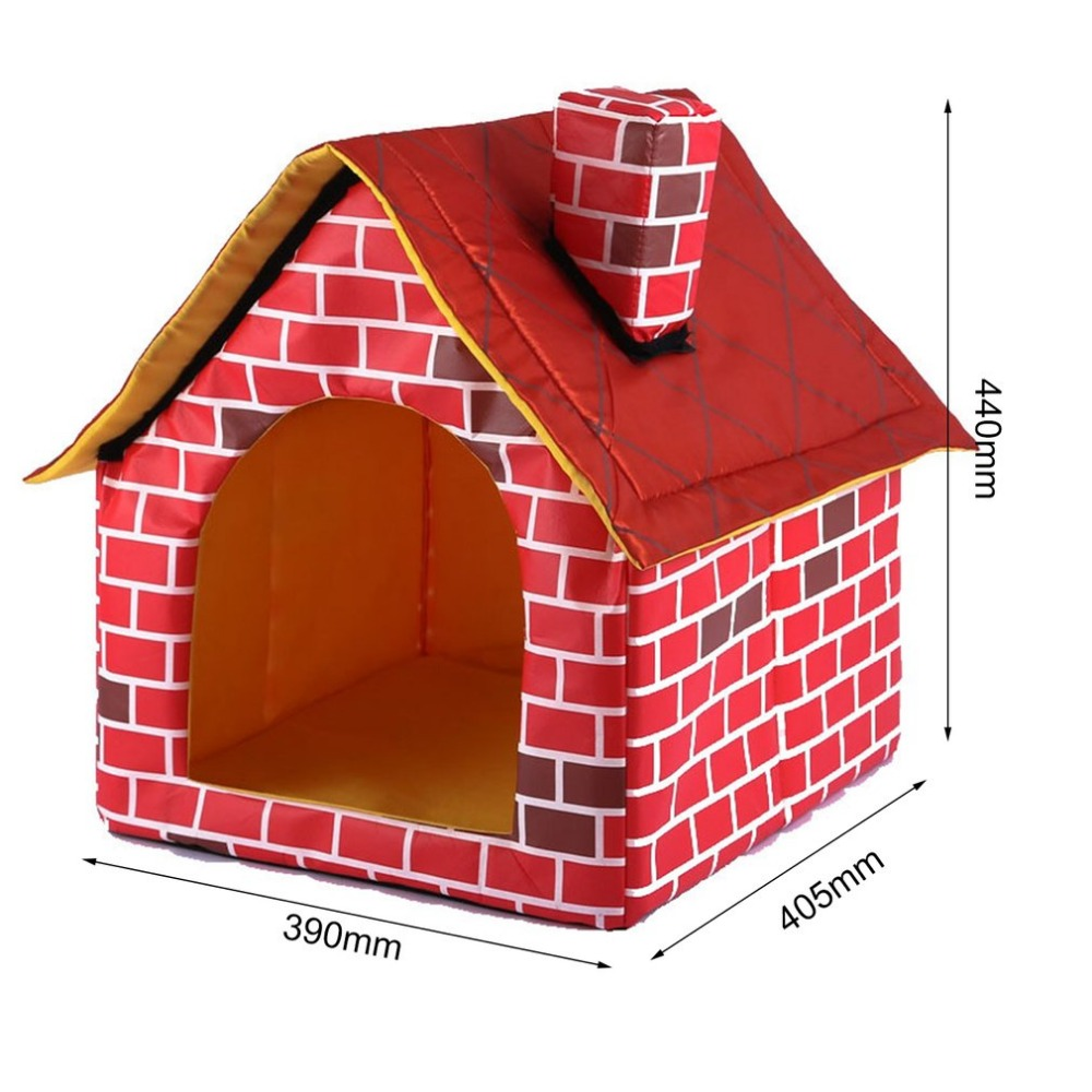 Portable Brick Pet House With Chimney Warm And Cozy Dog Cat Bed Detachable Washable Pet Tent Suitable For All Seasons Cushion 8